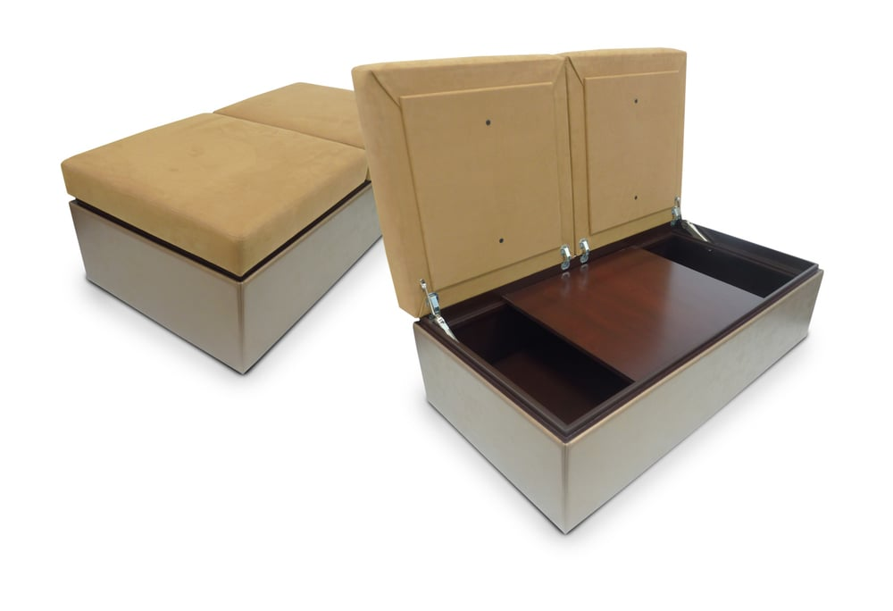 Storage Ottoman with interior sliding table top