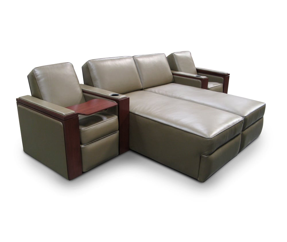 Concealed & Motorized First Class Tray Tables; Pocket Arms; Model: Hudson Single-Dual Chaise-Single