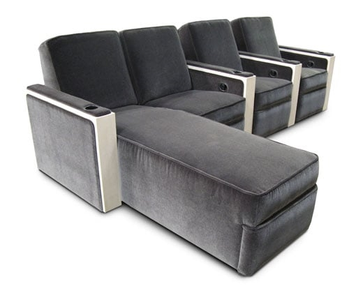 Hudson 3-seat common arm, end chaise. Wood veneer arms with upholstered arm rests and side panels.