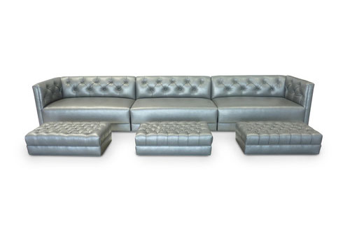 Custom Sofa; Ottomans