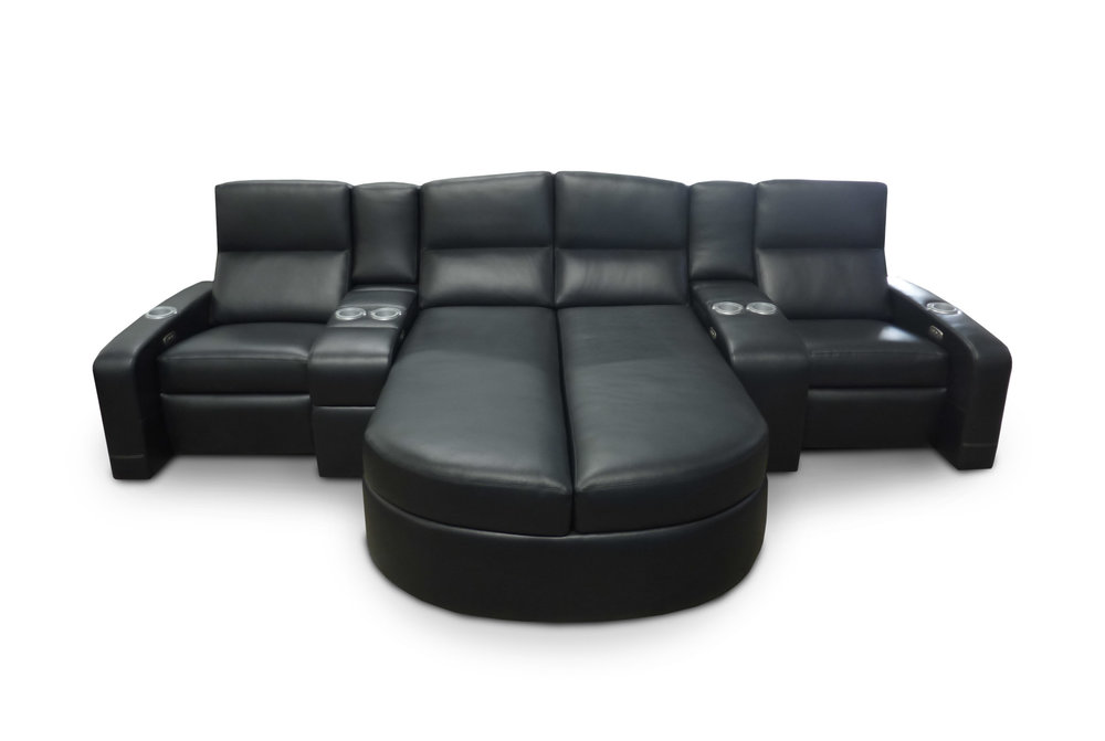 Lounger with Storage; Custom Curved Back; Fixed Common Arm