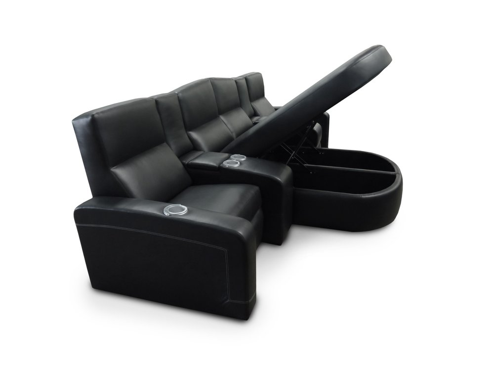 Lounger with Storage; Custom Curved Back; Common Fixed Arm