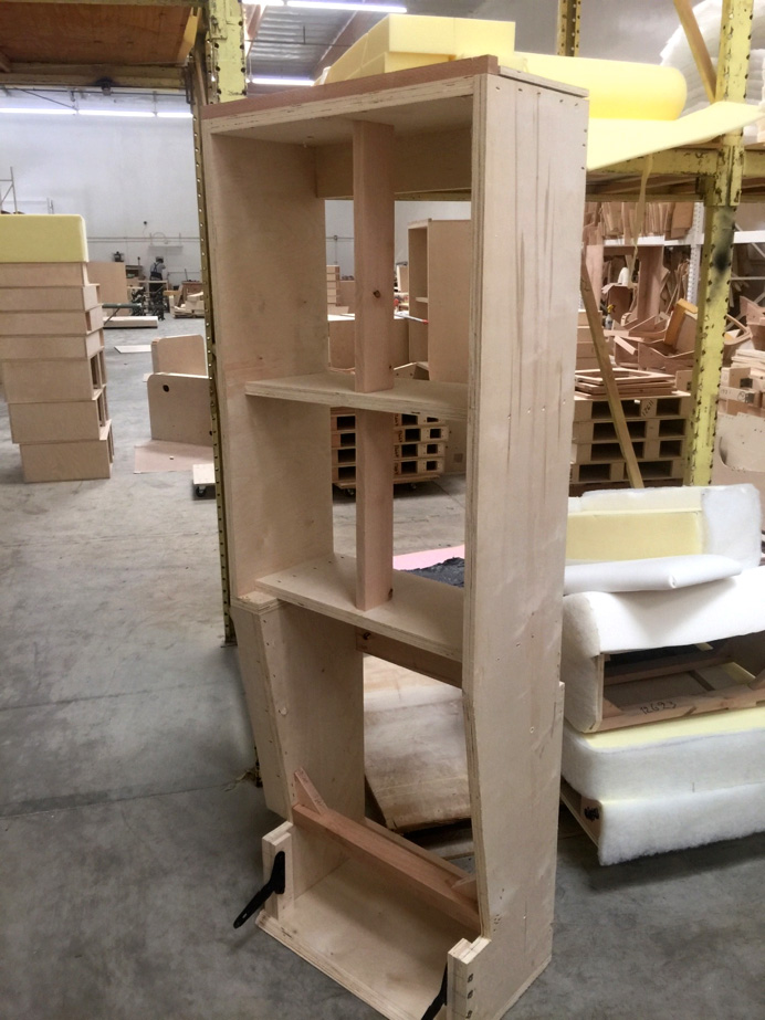 Shown here is the structure of a chaise lounge in the process of being built. Fortress builds all products to ANSI BIFMA standards. The frame is constructed with Alder hardwood and Birch plywood. Next stop, upholstery!