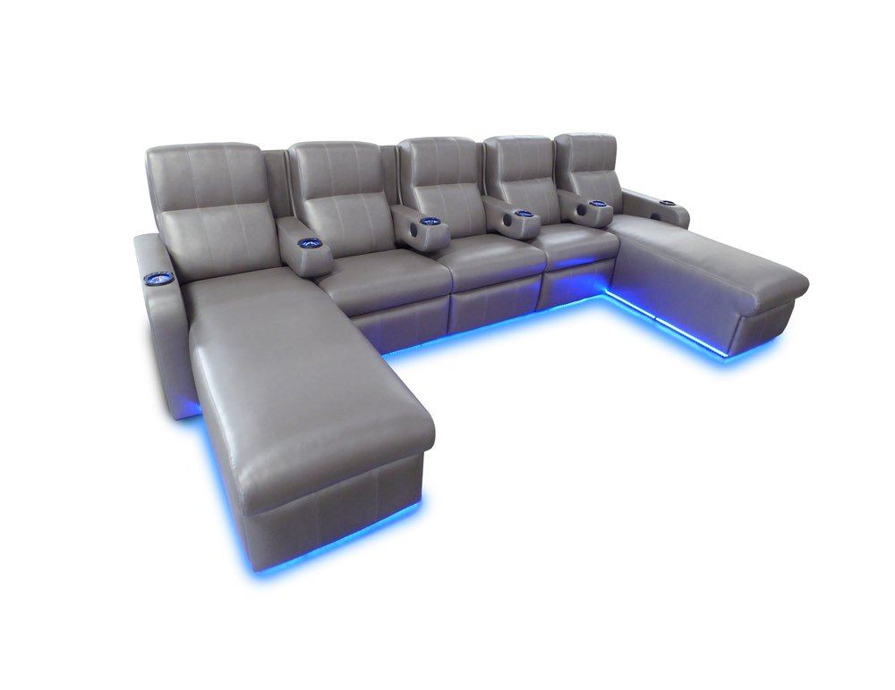 Matinee - Pocket Arm Lounger; LED Floor Lighting; Ottoman on Casters