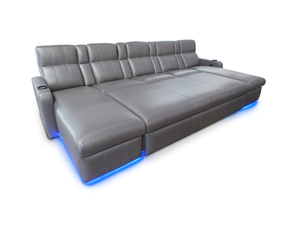 Matinee Pocket Arm Lounger; LED Floor & Cup Holder Lighting;  Ottoman on Casters