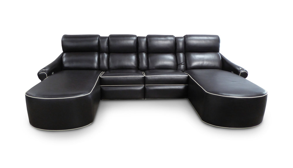 El Dorado; center pocket arms; chaise footrest; piping