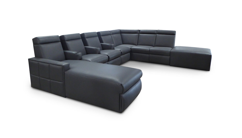 West End Sectional  (customized); adjustable headrest; pocket arms w/cup holders/ chaise footrest; quilted arms