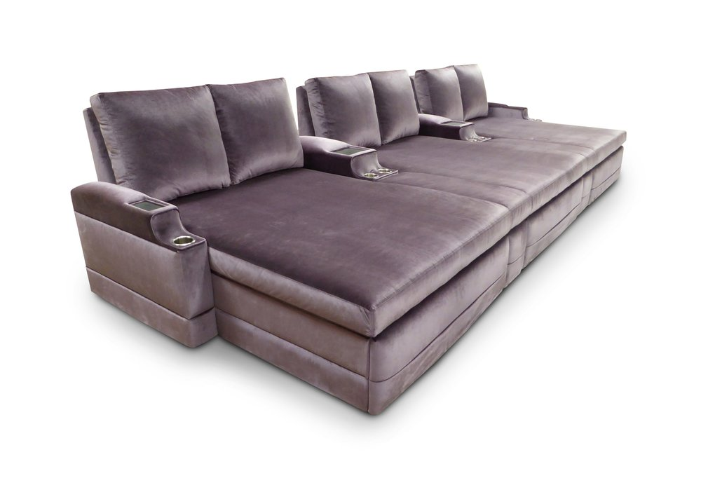 Three Dual Loungers; Inset Table Tops in Common Arms