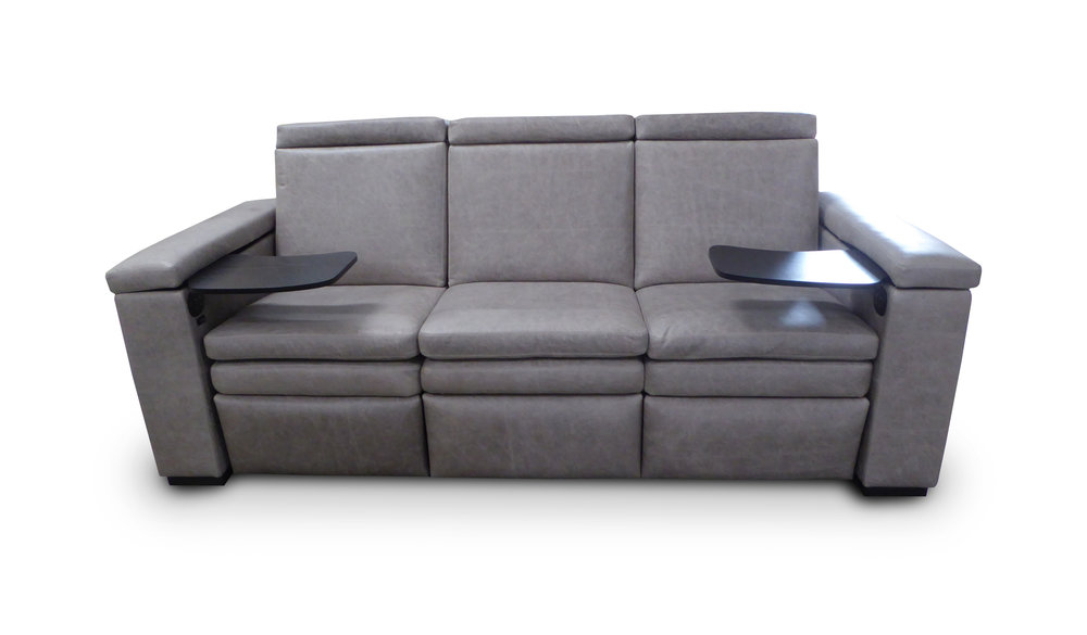 Reclining Sofa; First Class Tray Tables; Headrests down