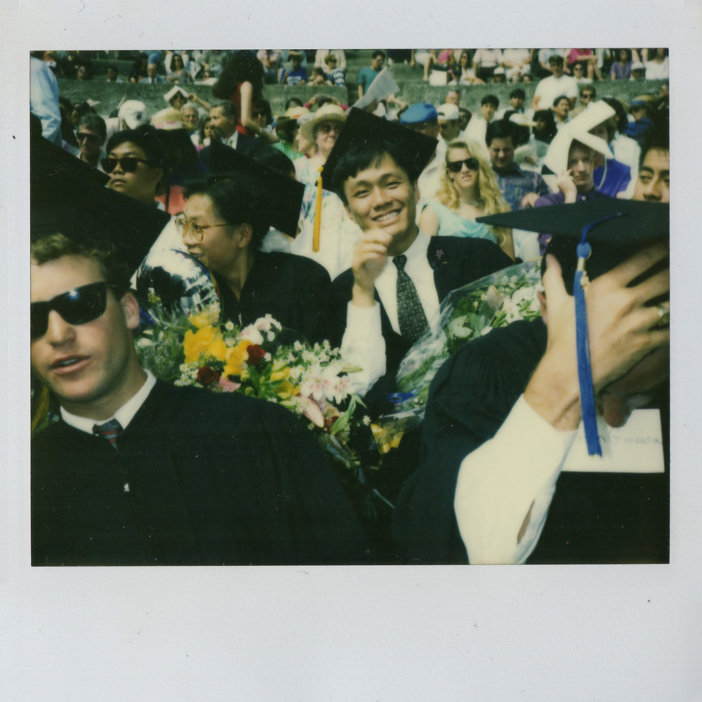 Dad's graduation at UC Berkeley, polaroid