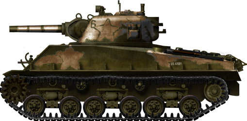 M4 with 105mm Howitzer and HVSS. Thanks to http://www.tanks-encyclopedia.com