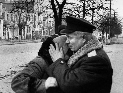 "Allow me to take a first turn that few American writers would, and *start* with something that establishes Mr. Khrushchev's status as a Hero. This photo is of Khrushchev comforting a fellow Soviet in Stalingrad, 1942. I don't exactly have specific criteria for ""Hero"" status. That being said, participation in the Battle of Stalingrad immediately makes someone eligible for that title by my metric."