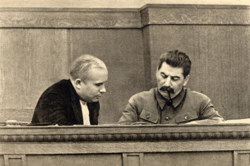 Khrushchev with Stalin, 1936. For those of you not familiar with Stalin's HR policies, there are very few people ever photographed this close to Stalin who were ever seen or heard from again.