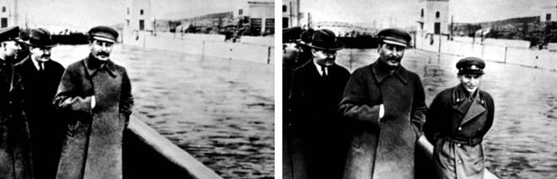 The man on the right is Nikolai Yezhov. He is one of the lucky few whose even vaguest memory can be recalled after one of Stalin's purges. Before vanishing himself, Yezhov helped facilitate some of Stalin's purges. A good communist doesn't believe in Karma. Heh.