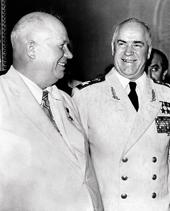 Khrushchev with Zhukov (right). Taken in 1956, slightly less perilous times.