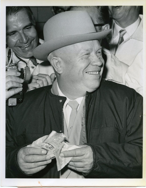 "Khrushchev enjoying a hot dog in Iowa, 1959. In his own words, it was ""Wonderful, but not enough."" He declined having a second one, though. He was a good Communist."