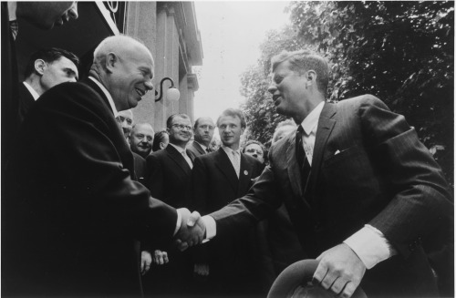 1961, Khrushchev meets with President Kennedy in Austria.