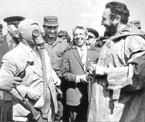 Khrushchev (left), models a Soviet gas mask for Fidel Castro (right). There are a surprising amount of candid photos of this Soviet Premier. In a similar vein, that jacket makes Castro look the frumpiest he ever looked.