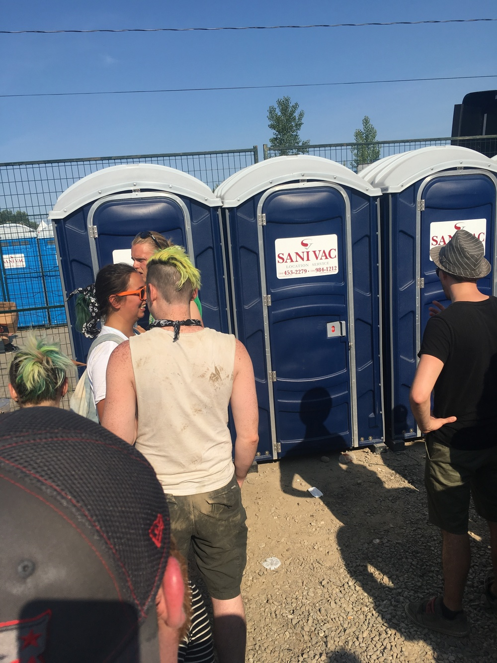 Line ups for the washroom in VIP section of Budweiser stage, Amnesia Rockfest 2016: the bathroom line ups were INTENSE!!