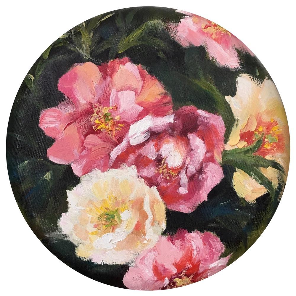 "Aroma, 12"" in diameter, oil on canvas, 2015"