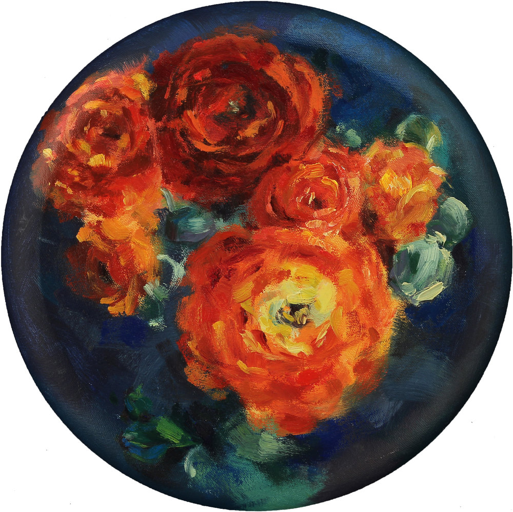 "Orange Ranunculus, 12"" in diameter, oil on canvas, 2015"