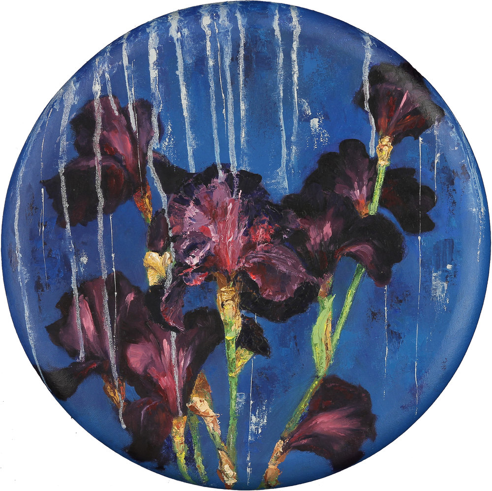 "Silver Rain, 16"" in diameter, oil on canvas, 2016"