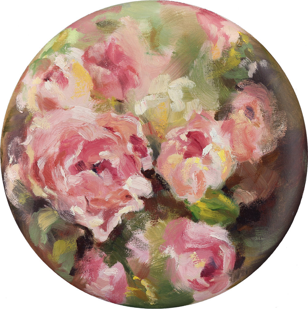 "Through The Mist, 12"" in diameter, oil on canvas, 2015"