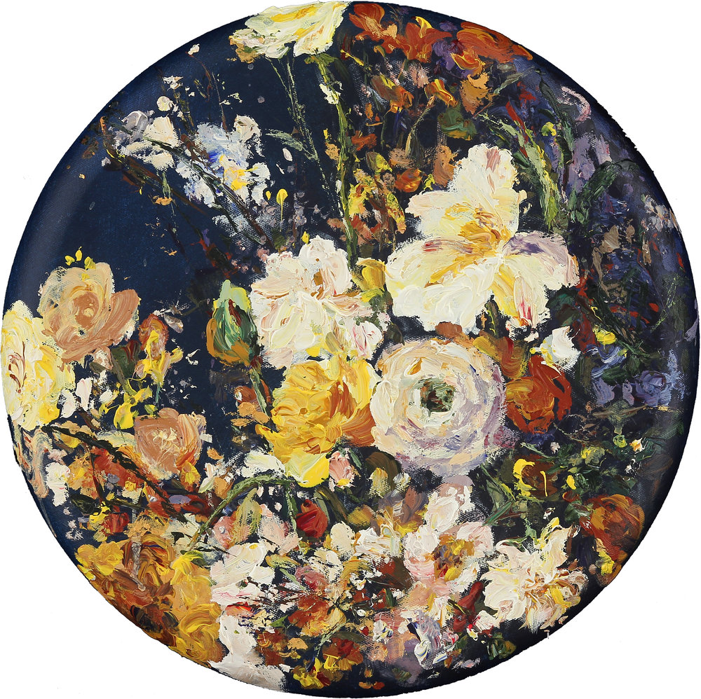 """Poetry in Colors, 16"""" in diameter, acrylic on canvas, 2016"""