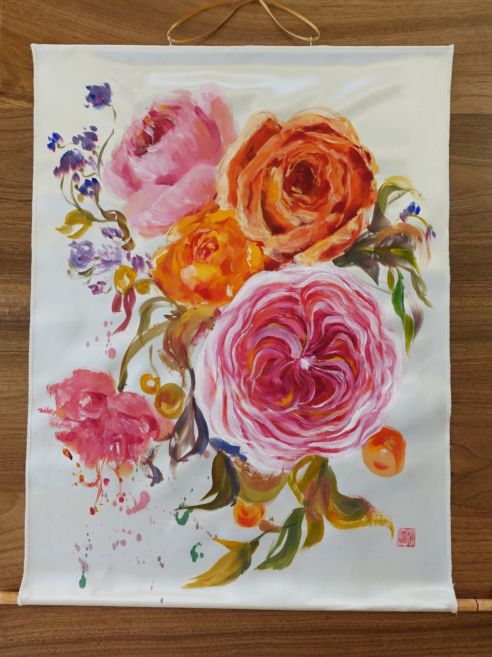 Harmony in Bloom-Passion, satin fabric painting