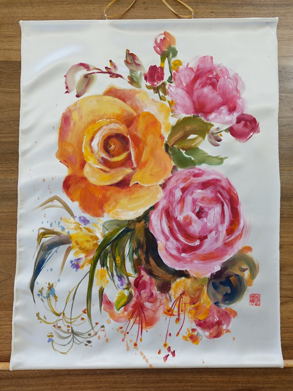Harmony in Bloom-Love, satin fabric painting