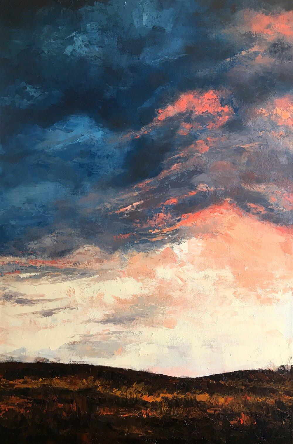 """Sunset, 36""""x24"""", oil on canvas, 2016"""
