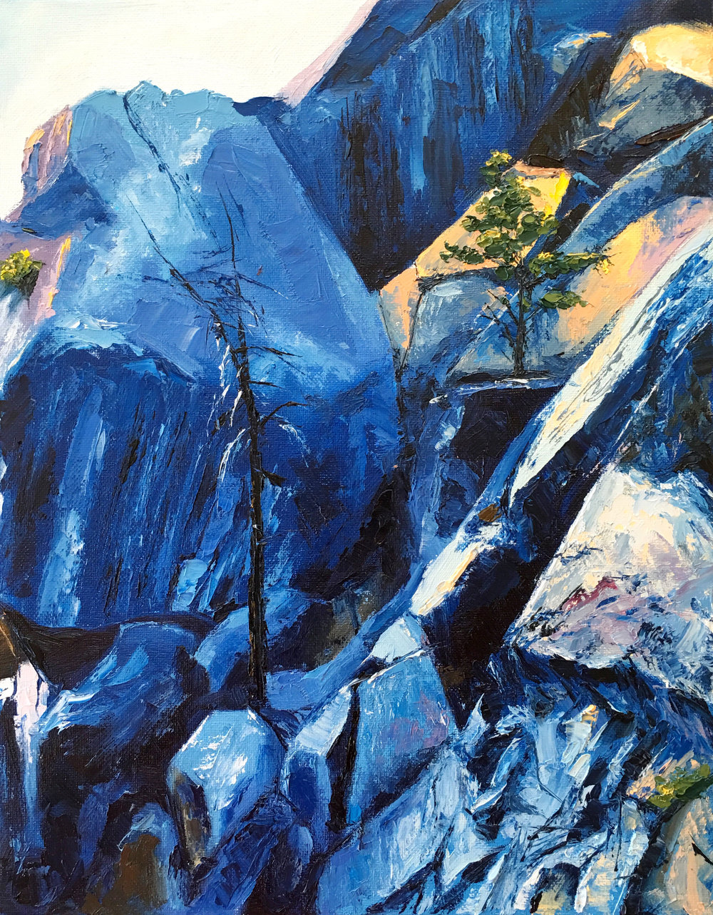 "Rock Formations in Yosemite, 14""x11"", oil on panel, 2016"