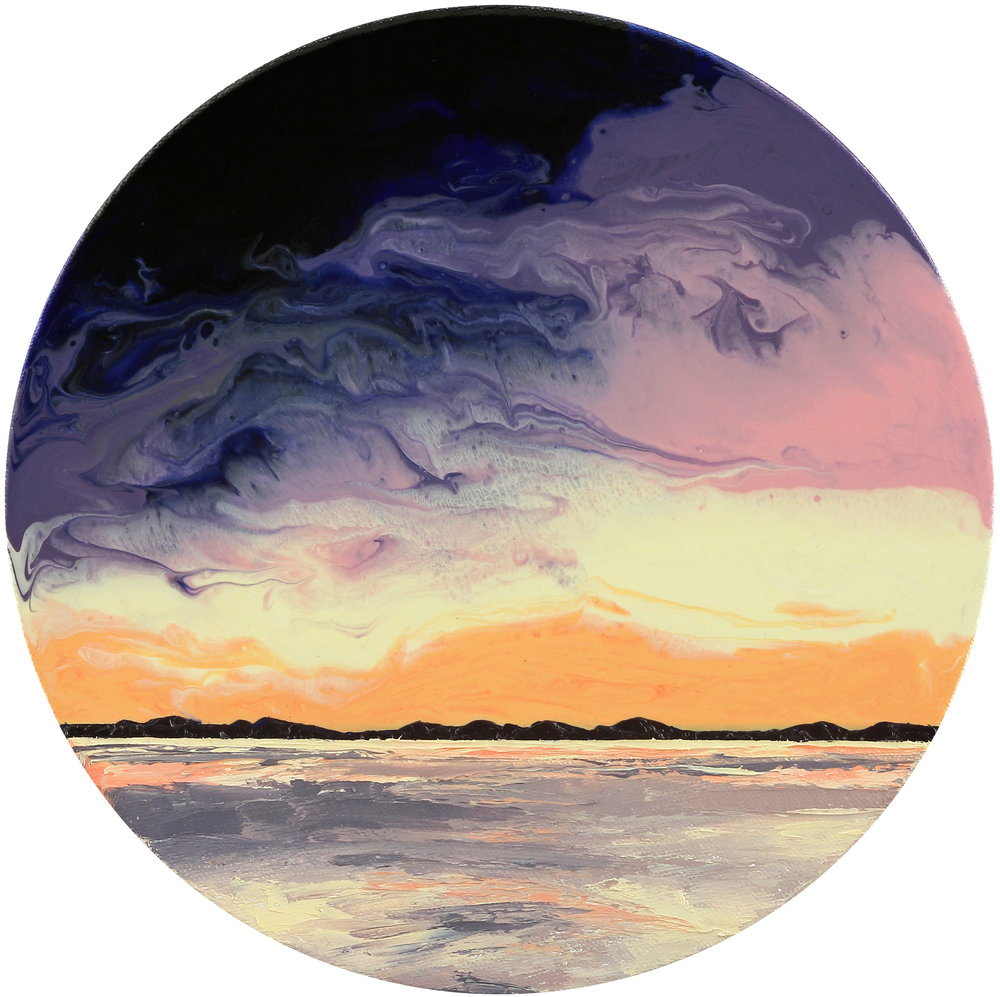 "Lake Tahoe Sunset, 10"" in diameter, acrylic & oil on canvas, 2017"