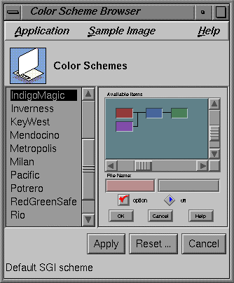 Figure 4: Color Scheme control panel.