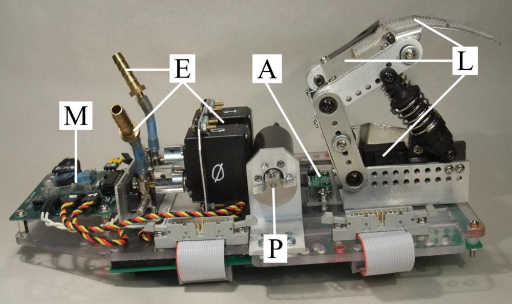 Figure 2: The Haptic Creature mechatronics. Visible, from left to right, are the motor control board [M] and the mechanisms for the ears [E], purr box [P], accelerometer [A], and lungs [L]. Not visible, underneath chassis, is the FSR board, which houses the microcontroller.