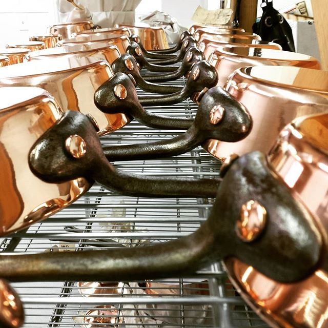 "Check us out on today on ""How it's Made!"" (Science Channel). We made so many pans for the filming, I'm running a SPECIAL price for these pieces. Link in bio. #handmade #Duparquet #coppercookware #copper #pans"