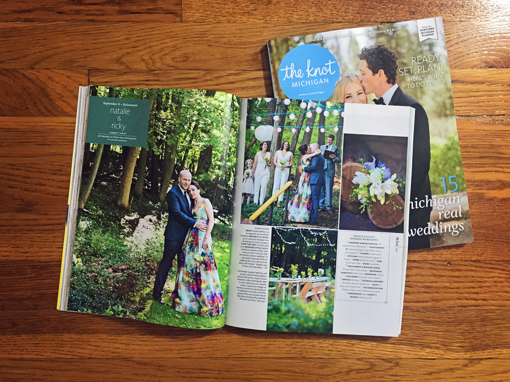 Featured wedding in Spring Summer 2016 The Knot. pg. 102-103