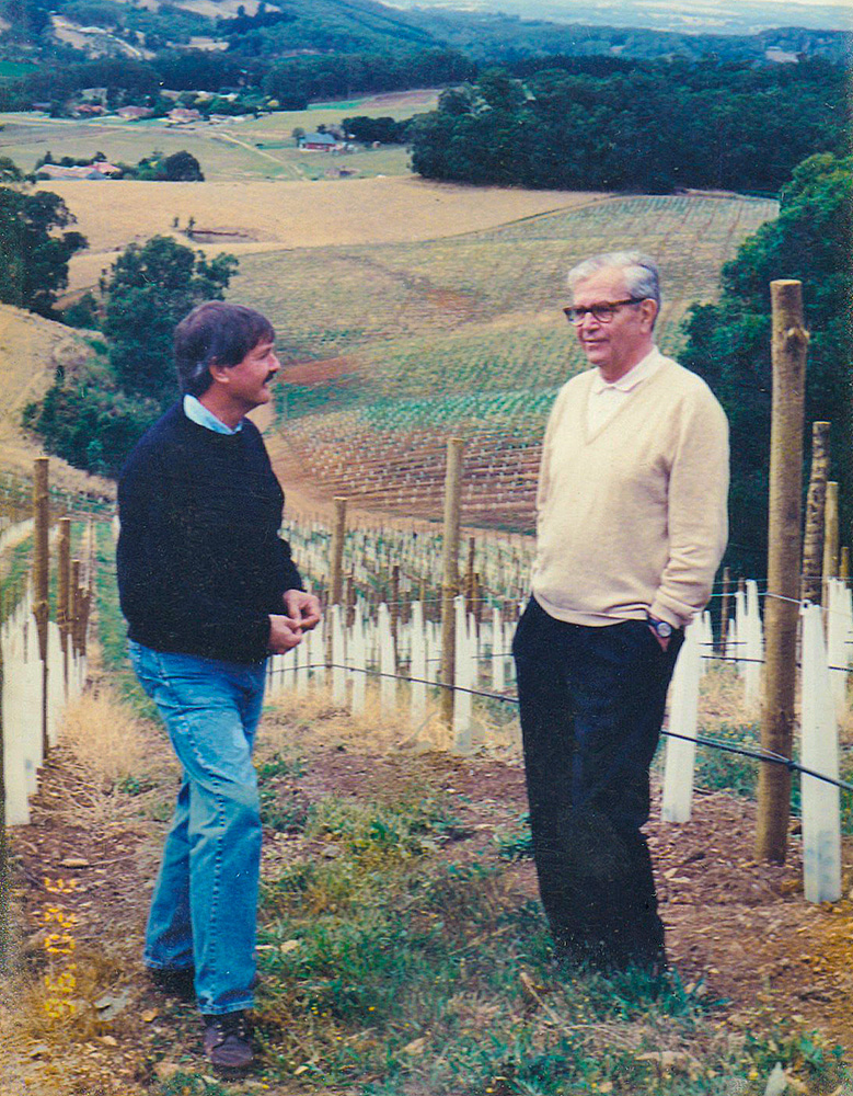 Brian Croser and Christian Bizot in the then newly planted Bizot Vineyard in the Piccadilly Valley, 1996.