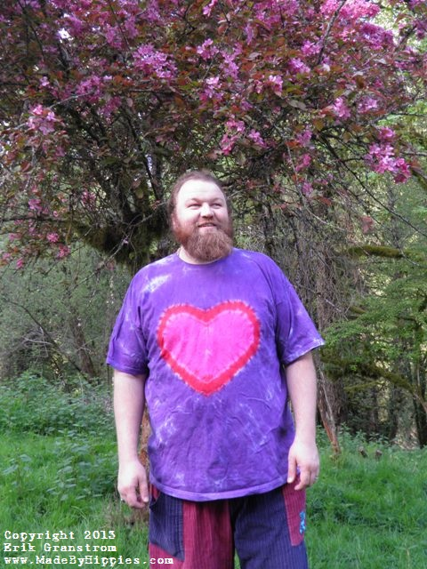 Brand-new Purple and Pink Heart Tie Dye T-Shirt — Made By Hippies Tie Dyes GN85