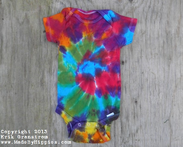 782d724b7db51 Rainbow Spiral Tie Dye Baby Onesie — Made By Hippies Tie Dyes
