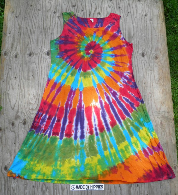 4b05b15842d Rainbow Spiral Tie Dye Dress — Made By Hippies Tie Dyes