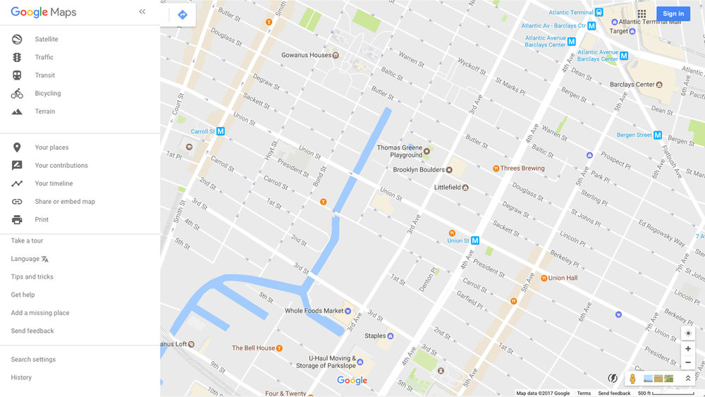 Google Maps as it is illustrates the Gowanus Canal area today