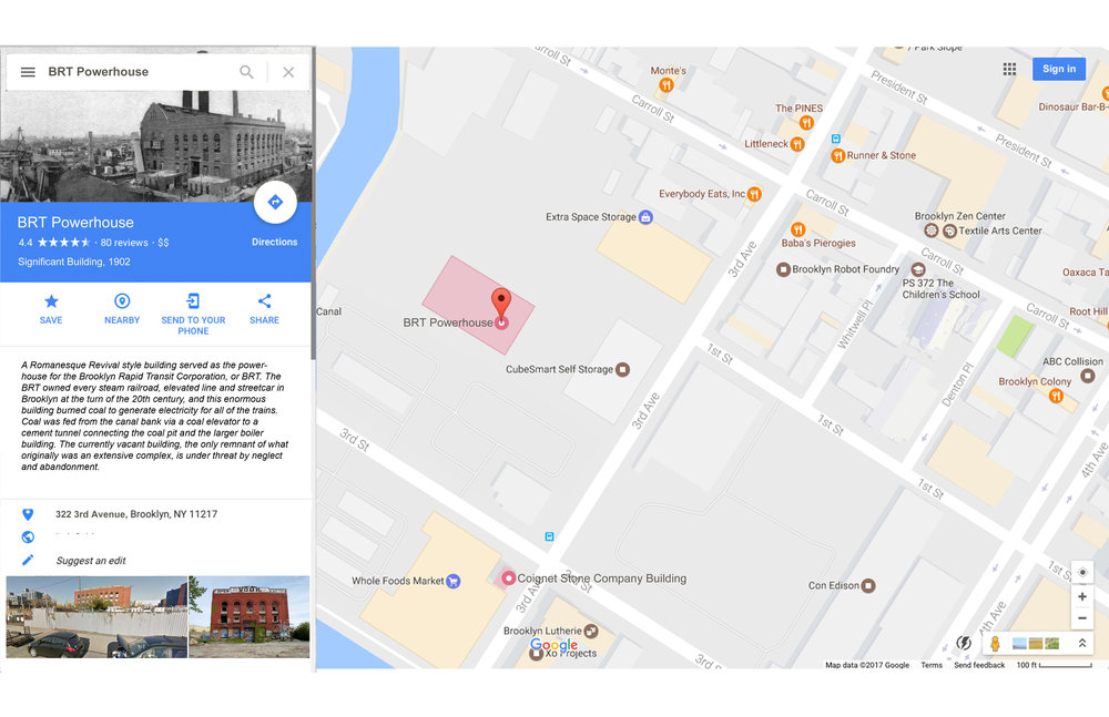 Google Maps Community Preservation Layer on: The BRT Powerhouse (highlighted) is now a Google Maps entry with information and rating as to its history and importance to residents