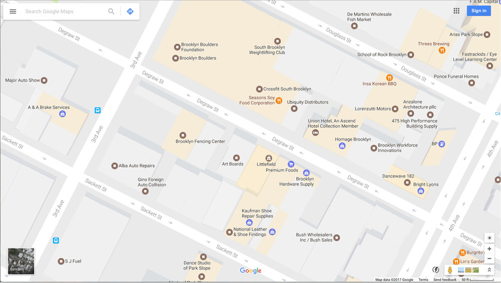Existing Screenshot: Google Maps showing the area of Degraw Street as shown today illustrative the cluster of uses highlighted in beige