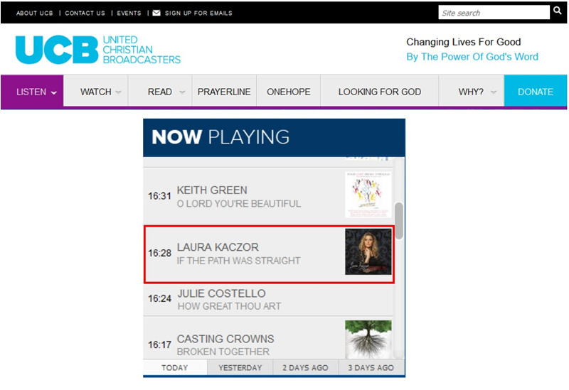 "The impact of the new single from Laura Kaczor and her critically acclaimed new release  Restore Me  is now being being felt internationally! The UK's United Christian Broadcasters (UCB) has now added ""If the Path Was Straight""!  This is a significant add because UCB is the largest Christian media company in England!!"
