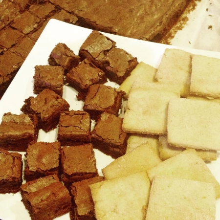 Biscochitos on the right, spicy brownies on the left