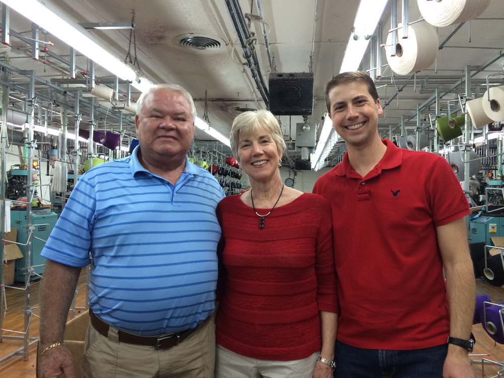 Original L&R Knitting owner Ron Brittain, Founder of Solmate Socks Marianne Wakerlin, and the new co-owner of both companies Randy Wakerlin