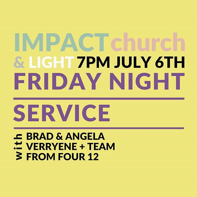 Brad and Angela Verryne and the 412 team Wil be visiting Impact Church on Friday 6 - Sunday 7 of July. We'd love to see you there!