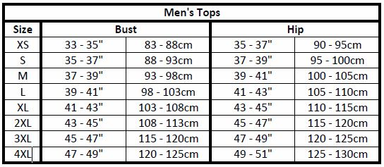 men's apparel sizes