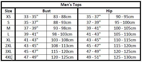 men's apparel sizes